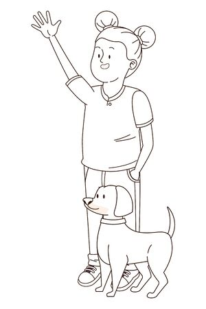 Teenager greeting and walking the dog isolated,vector illustration graphic design. 矢量图像