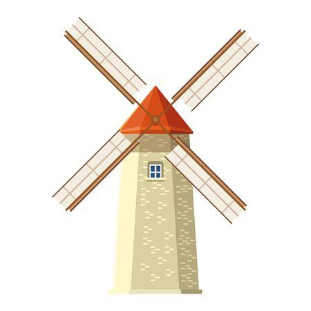 farm windmill icon over white background, vector illustration