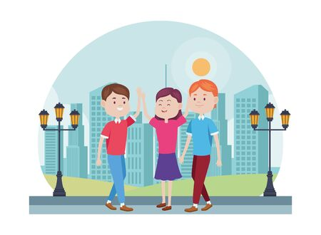 young people characters in the park vector illustration design Standard-Bild - 134419645