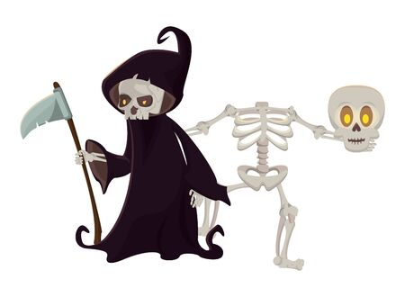 halloween skeleton and death characters vector illustration design