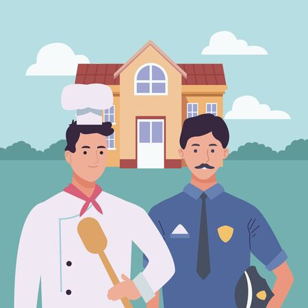 Professionals workers chef and police officer smiling cartoons outside from school building ,vector illustration graphic design. Foto de archivo - 134419724