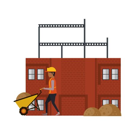construction architectural engineering, worker making heavy work with protection safety equipment in under construction site cartoon vector illustration graphic design Foto de archivo - 134434820