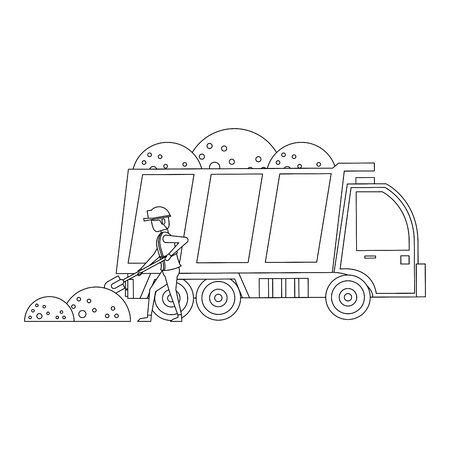 construction architectural engineering work, heavy truck carrying sand with worker cartoon vector illustration graphic design Foto de archivo - 134434824