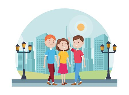 young people characters in the park vector illustration design Standard-Bild - 134434832
