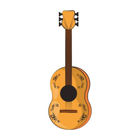 guitar wooden music acoustic instrument cartoon vector illustration graphic design