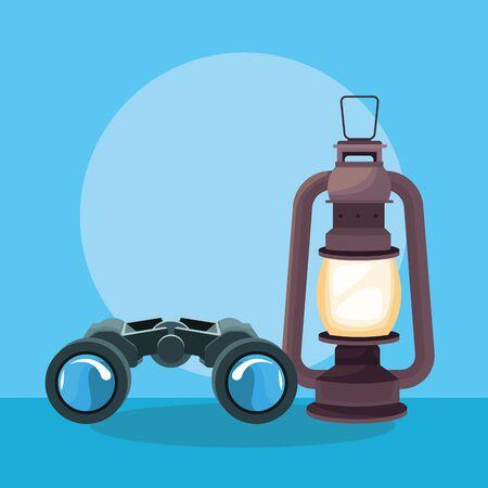 Travel adventure camping lantern and binoculars on blue background vector illustration graphic design.