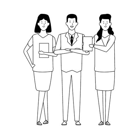 group of businesspeople standing over white background, flat design. vector illustration