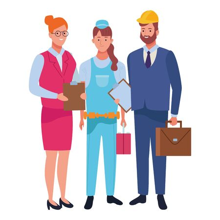 Professionals workers smiling with work tools cartoons ,vector illustration. Foto de archivo - 134435550
