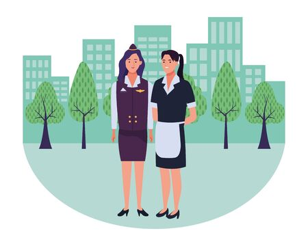 Professionals workers stewardess and maid smiling cartoons in the city urban background with cityscape ,vector illustration graphic design. Foto de archivo - 134435657