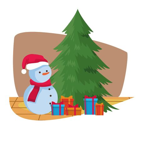 christmas tree with snowman and gift boxes over white background, colorful design. vector illustration Foto de archivo - 134435665