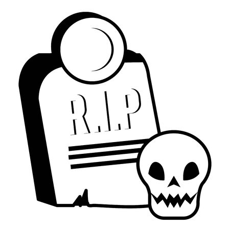 halloween skull head with gravestone vector illustration design