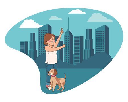 Teenager walking the dog and doing peace hand sign in the city, urban scenery background vector illustration graphic design.