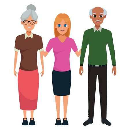 Family grandmother and grandfather with adultt granddaughter vector illustration graphic design