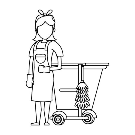 Cleaner worker with cleaning products in cart equipment vector illustration graphic design. Foto de archivo - 134435967