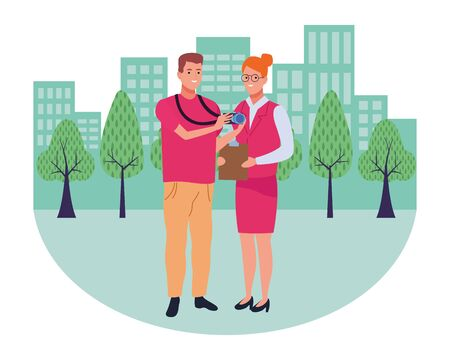 Professionals workers photographer and secretary smiling cartoons in the city urban background with cityscape ,vector illustration graphic design. Foto de archivo - 134435982