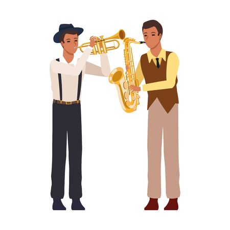 cartoon saxophonist and trumpeter over white background, colorful design. vector illustration