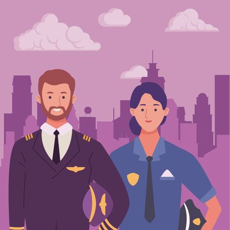 Professionals workers pilot and police officer smiling cartoons in the city urban scenery ,vector illustration graphic design. Foto de archivo - 134436050