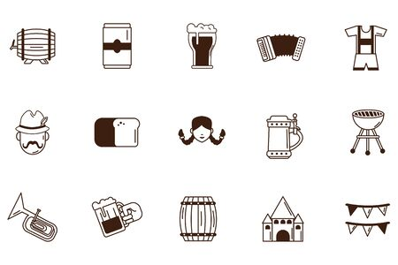 bundle of oktoberfest celebration set icons vector illustration design Illustration