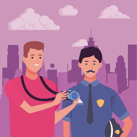 Professionals workers police officer and photographer smiling cartoons in the city urban scenery ,vector illustration graphic design. Foto de archivo - 134436784