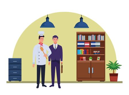 Professionals workers chef and businessman with lawyer smiling cartoons in the office with drawers and cabinets ,vector illustration graphic design. Foto de archivo - 134436786