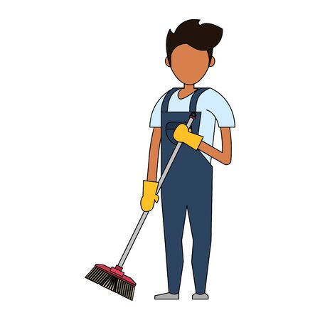 Cleaner worker man smiling with cleaning products and equipment vector illustration graphic design. Foto de archivo - 134436923