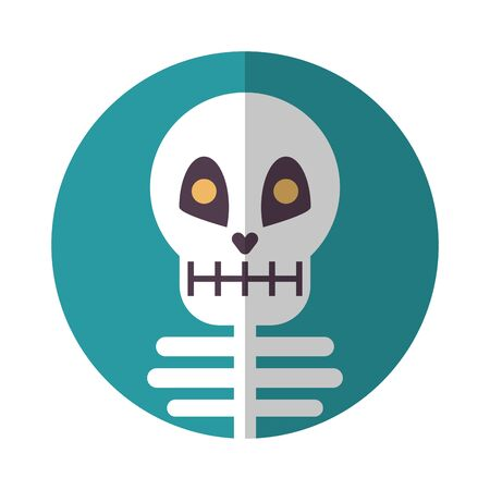 halloween skeleton bones character icon vector illustration design 向量圖像