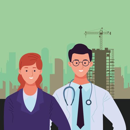 Professionals workers characters smiling cartoons in construction zone buildings background ,vector illustration graphic design. Foto de archivo - 134437125