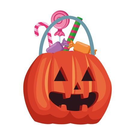 halloween pumpkin with sweet candies vector illustration design Foto de archivo - 134437138