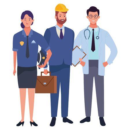 Professionals workers smiling with work tools cartoons ,vector illustration. Foto de archivo - 134437166