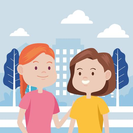young women characters in the city vector illustration design Standard-Bild - 134437173