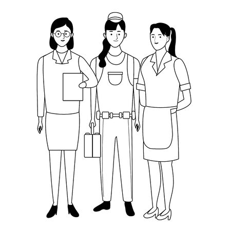 Professionals workers smiling with work tools cartoons ,vector illustration graphic design. Foto de archivo - 134437184