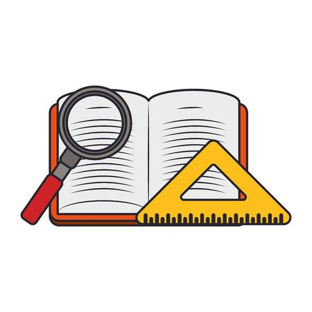 squad ruler with magnifying glass and academic book over white background, vector illustration