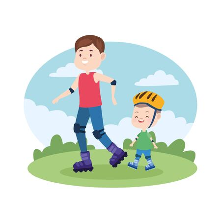 Family single father and son with skates at park vector illustration graphic.