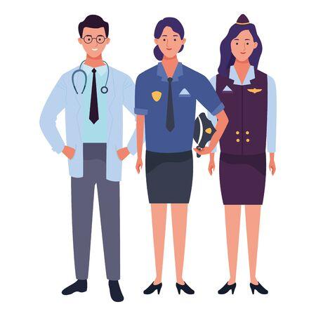 Professionals workers smiling with work tools cartoons ,vector illustration. Foto de archivo - 134437230