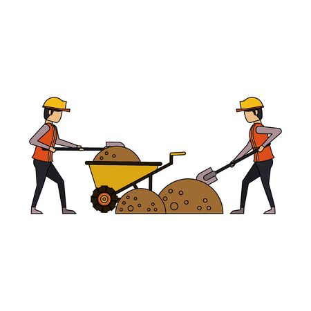 construction architectural engineering work, workers making heavy work in construction site cartoon vector illustration graphic design Foto de archivo - 134437653
