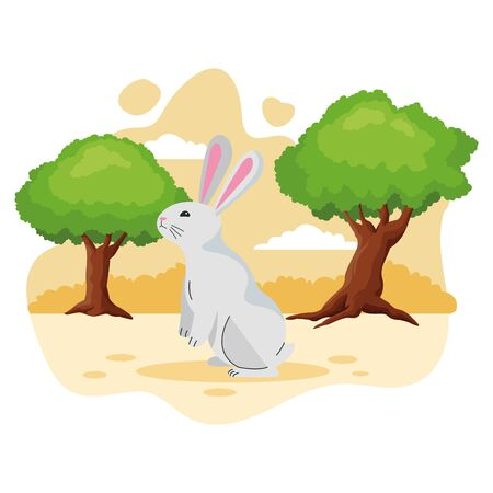 Cute rabbit pet animal cartoon in the nature background scenery ,vector illustration graphic design. Ilustração
