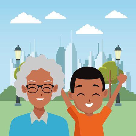 Dibujos animados de abuela y nieto de la familia en el parque de la ciudad ilustración vectorial diseño gráfico