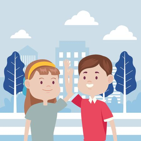 young couple characters in the city vector illustration design Standard-Bild - 134252842