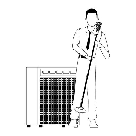 cartoon cuban singer with microphone stand and sound amplifier over white background, vector illustration