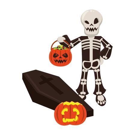 halloween october scary celebration skull death man holding pumpkin candys pot cartoon vector illustration graphic design 일러스트