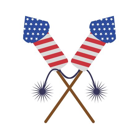 usa american independence 4th july patriotic happy celebration united states firework rockets isolated cartoon vector illustration graphic design