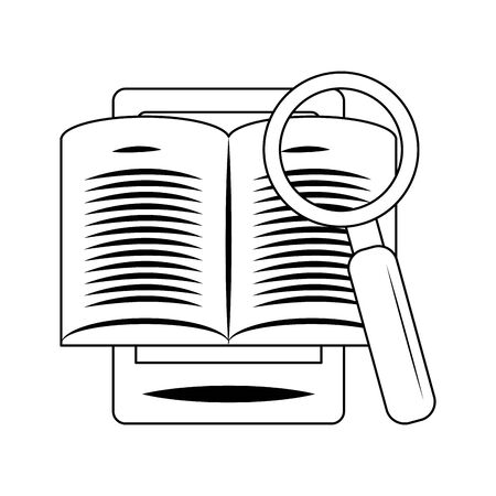 smartphone with paper page and magnifying glass over white background, vector illustration