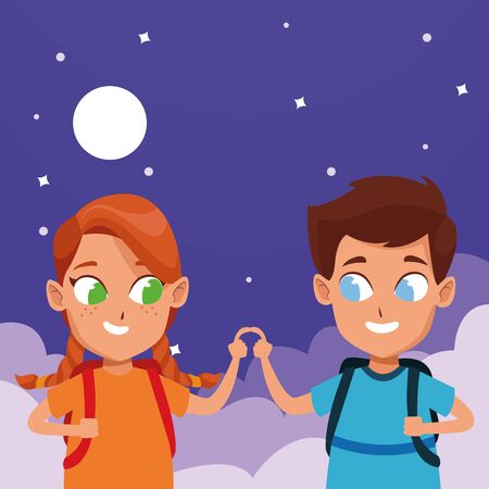 adorable cute children, girl with a boy school students wearing backpack happy childhood cartoon on sky night with clouds and moon background vector illustration graphic design.