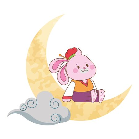 Mid autumn cute rabbit seated on moon with cloud ,vector illustration graphic design.