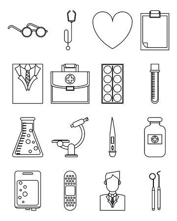 bundle of laboratory science set icons vector illustration design Illusztráció