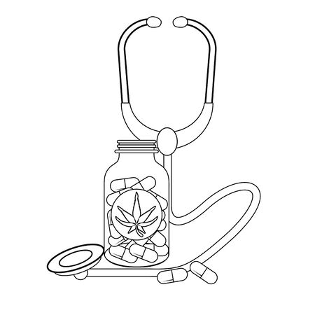 cannabis medical marijuana medicine sativa hemp pills bottle cartoon vector illustration graphic design Illusztráció