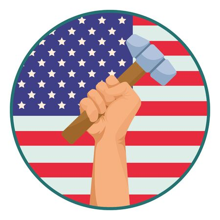 Construction worker hand holding mallet tool over united states flag round emblem ,vector illustration graphic design. Foto de archivo - 134437732