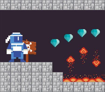video game warrior with diamonds in pixelated scene vector illustration design