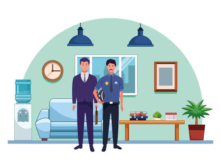 Professionals workers businessman and police officer with briefcase smiling cartoons inside house living room background ,vector illustration graphic design. Foto de archivo - 134437798