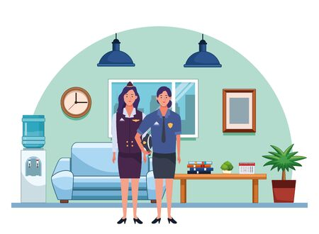 Professionals workers stewardess and police officer smiling cartoons inside house living room background ,vector illustration graphic design. Foto de archivo - 134437800